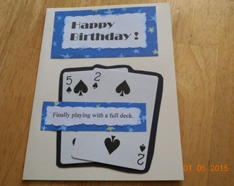 humorous birthday card 52 YEAR BIRTHDAY handmade card playing cards