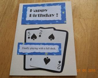 humorous birthday card 52 YEAR BIRTHDAY handmade card playing cards