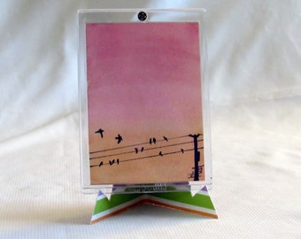 Original Watercolor - ACEO - Bird On A Wire - Pink Painting - Bird Art - Small Painting - One Of A Kind - Framed Art - Sunset Art - Tiny Art