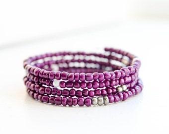 Purple Beaded Memory Wire Wrap Bracelet