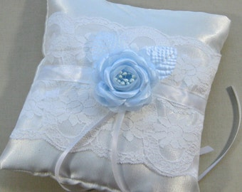 White Satin and Lace Ring Bearer Pillow with Blue Rose,  Something Blue Ring Pillow, White Bridal Ring Pillow
