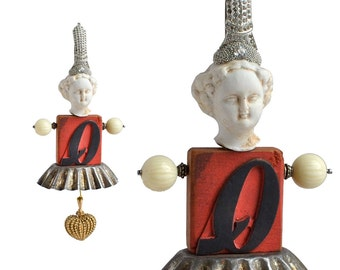 Valentines Ornament, Queen of Hearts, an original antique art doll ornament  by Elizabeth Rosen