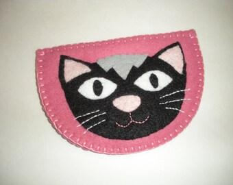 Felt purse with cat applique