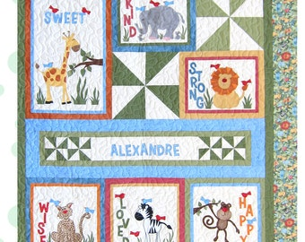 """Personalized Baby Quilt Pattern With Applique Jungle Animals, Size 52"""" by 58"""""""