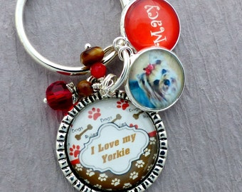 Personalized Dog Key Chain, Dog Mom, Pet Lover, Love my Yorkie, Pet Photo Name Key Ring, Pet Memorial Keychain, Mothers Day