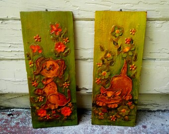 Vintage dog and cat 1970s wall hangings decor
