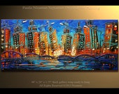 "Painting 48"" City at Night -  Original Oil Palette Knife texture Modern style, luxury looks, thick layers, Paula Nizamas"