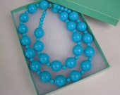 Vintage Chunky Blue Lucite Beaded Necklace- Mod Style-gift box included!