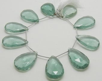 Large Aqua Green Hydro Quartz Briolette, Green Quartz Faceted Teardrop Briolettes, Green Amethyst Color, 30x20mm, 1 bead, #725.L