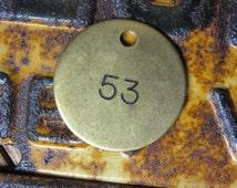 Vintage Number Tag Jewelry Charm Brass Number 53 Tag #53 Tag Number Industrial Garage Old VTG Tag Farm Industrial Tag Lucky Number Fob Tag