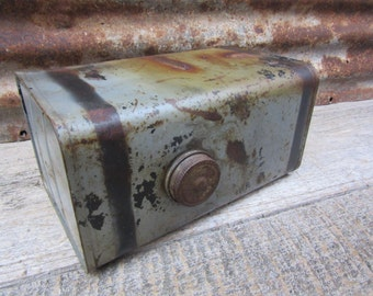 Gray Vintage Metal Fuel Tank Heavily Rusted Aged Patina Industrial Display Decor Item Urban Salvaged Farm Tractor or Equipment Mechanical