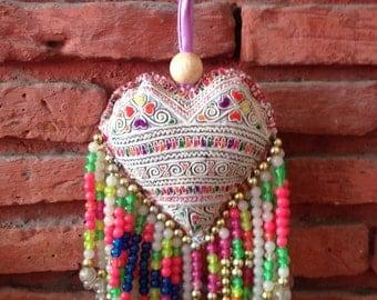 Colourful Decorative Heart Neon Beaded Bag Charm / Hmong Keychain