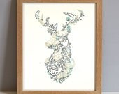Deer Head Print, Stags Head Large Screenprint in Gold and Teal, Stags Head Poster