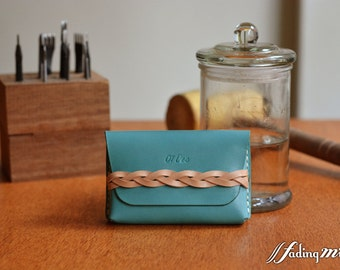 Leather Personalized Card Holder with Braided Strap