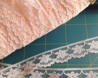 Vintage Pale Peach Lace, 15mm wide, x three yards