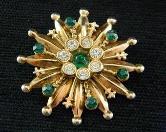Fleur de lis Green and Gold Rhinestone brooch pendant Mardi Gras