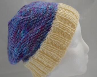 Slouchy Knit Beanie, Teen Hat,  Purple Beanie, Hand Dyed, OOAK Hat, Warm Winter Hat, Ski Hat, Snowboarding Hat, Hand Knit