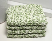 Green Dishcloth - Crochet Cotton Dishcloths - Green & White Stripe - Set of 4 American Cotton