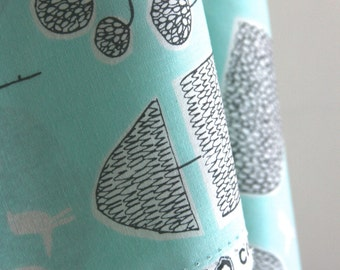 Organic Tokoyo Trees in Turquoise from Yoyogi Park by Skinny Laminx for Cloud 9 Fabrics - ONE FAT QUARTER Cut