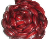 Scarlet O Hara Luxury Blend of Merino Silk and Black Baby Alpaca Roving -  Spinning and Felting Fiber