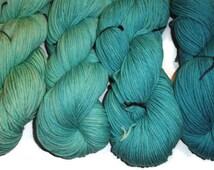 Gradient Turquoise Superwash Merino Yarn Set DK Weight Merino Yarn - Turquoise Double Knit Yarn - 3 Ply Yarn - TurquoiseYarn