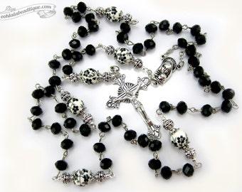 Black Crystal Rosary, confirmation rosary, catholic gift, communion rosary, confirmation gift, goth rosary, catholic jewelry, ladies rosary