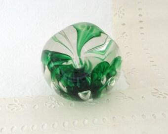 Vintage paperweight - Frog - art glass - desk accessory - flower vase