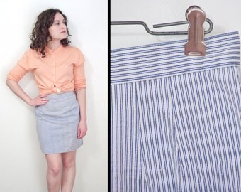 ENGINEER Stripe Skirt 1970s Navy White Pinstripes Small Cotton Mini