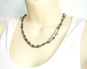 Copper Beaded Choker - Swirl Flat Copper Beads with Gunmetal Chain Double Strand Bead Choker Necklace