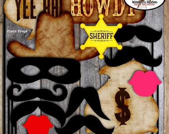 Cowboy Photo Booth Props - Western Rodeo Photo Props - Printable (Wild West, Roundup, Sheriff, Bandit Mask, Mustache, Moustache, Loot Bag)