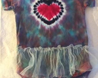 6 Month Infant Baby Rainbow Heart Tie Dye TuTu Bodysuit