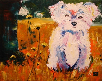 I love you too ( original oil painting of puppy dog )