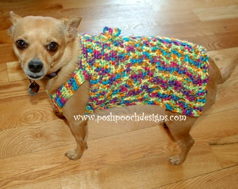 Instant Download Crochet Pattern -  Sunny Day Dog Sweater XS, S and Medium Sizes
