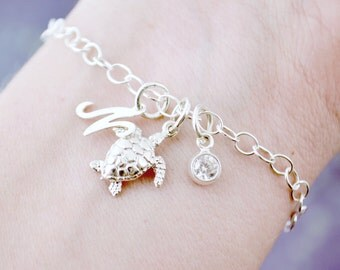 Sea Turtle Charm Bracelets, Sea Turtle Bracelet, Graduate Gift, Beach Jewelry, Sea Turtle Jewelry, Silver Turtle, Birthstone Charm Bracelet