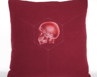X-Ray Skull Accessory Pillow / Marsala Red and Light Grey