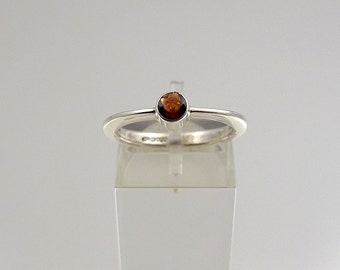 Silver Band Ring with Garnet