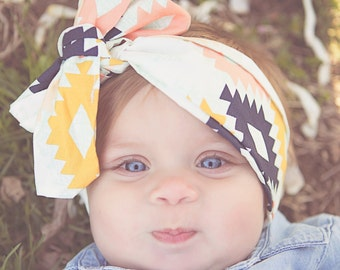 Baby Girl Turban in Tribal Print