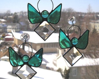 Stained Glass Angel|Stained Glass Suncatcher|Birthstone Angel|March Aquamarine Angel Suncatcher|Aqua|Handcrafted|Made in
