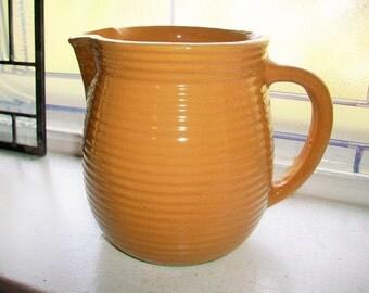 Vintage Milk Pitcher Western Stoneware Beehive Mustard Brown Color