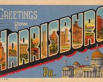 Linen Postcard, Greetings from Harrisburg, Pennsylvania, Capitol, Large Letter, 1957