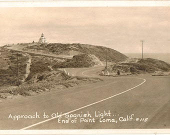 Vintage Real Photograph Postcard, Old Spanish Lighthouse, Point Loma, California, ca 1940