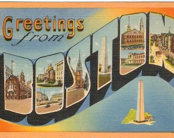 Linen Postcard Greetings from Boston, Massachusetts, Monument, Large Letter