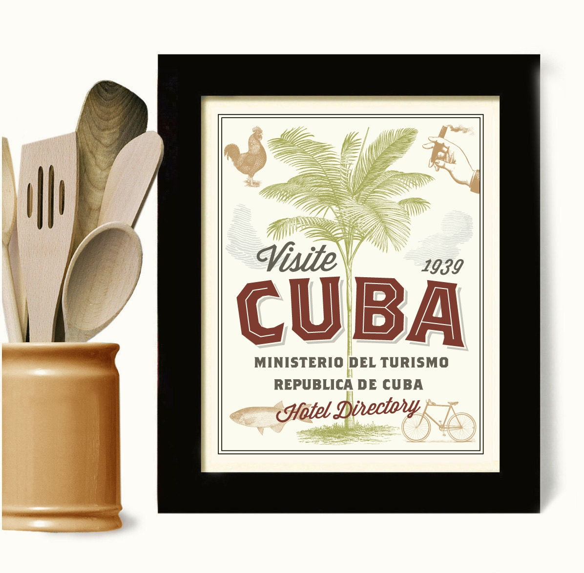 cuban art kitchen wall print tourism key west florida decor