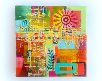 Geometric Abstract  Painting Original Mixed Media, Small 8x8 Family Ties, Warm Bright Colors