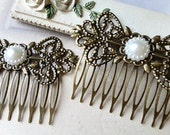 72 mm x 51 mm Handmade Antiqued Bronze Comb Finding with Filigree Setting and Pearl Bead (.cu)