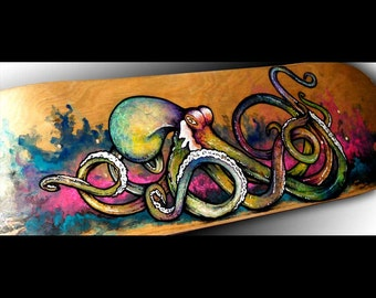 Skateboard Art | Octopus Painting | Surf Art | Surf Decor | Surf | Octopus Art | Beach Decor | Octopus Decor | Custom Skateboard | Hawaiian