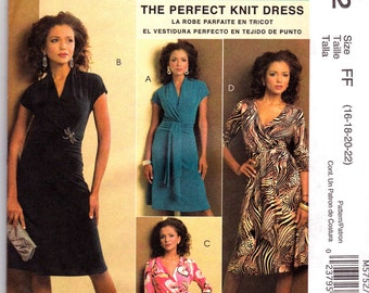 McCalls  PALMER PLETSCH Pattern m5752 Sz 8-14 or 16-22 The Perfect kKnit Dress Out Of Print Uncut Factory Folded