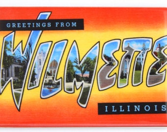 Greetings from Wilmette Illinois Fridge Magnet (2 x 3 inches)