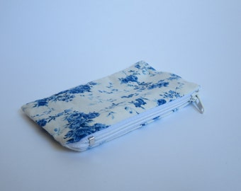 Coin Purse, Blue and White Floral