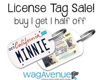 BUY 1 GET I 50% OFF all Dog License Tags - License Plate Pet Id Tags, Driver's License Pet Id Tags, Dog Tags for Dogs, Dog Id Tags